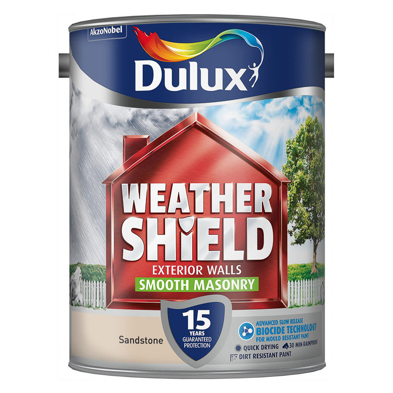 Dulux weathershield smooth masonry sandstone 5l paint - Breathable exterior masonry paint collection ...