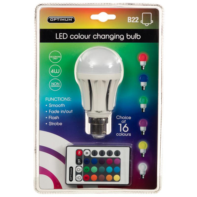 Optimum Led Colour Changing Light Bulb B22 Diy Bulbs