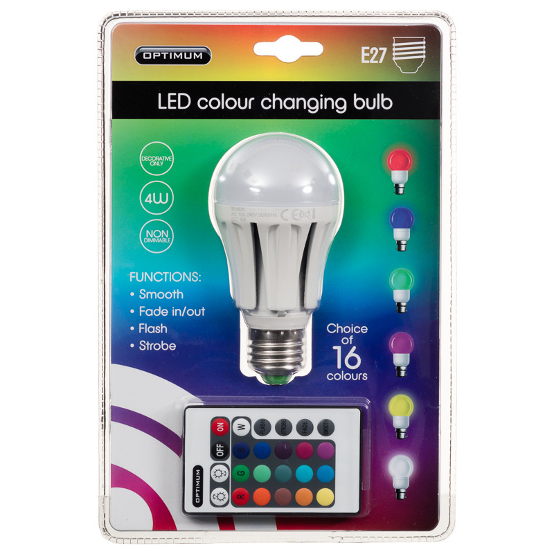 optimum led colour changing light bulb e27 diy bulbs. Black Bedroom Furniture Sets. Home Design Ideas