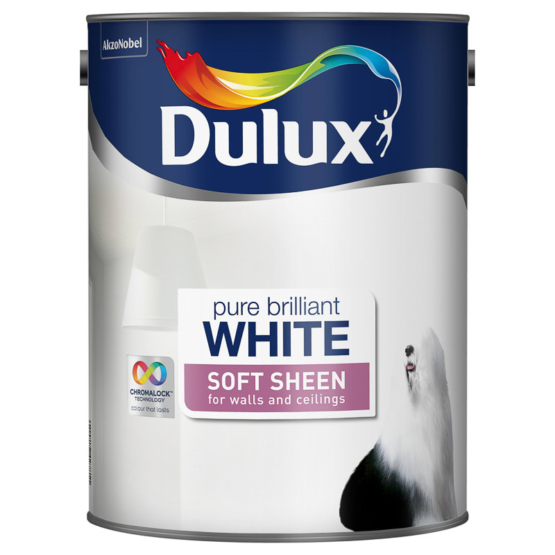 Dulux pure brilliant white soft sheen emulsion 5l painting - Eggshell paint in bathroom ...