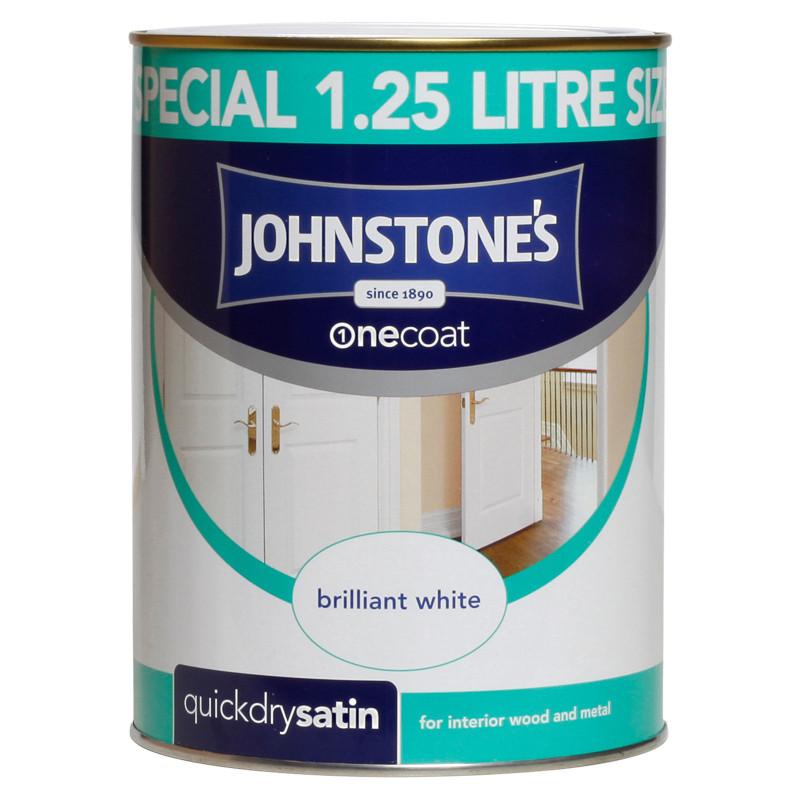 Johnstone 39 s one coat satinwood paint brilliant white for One coat white paint