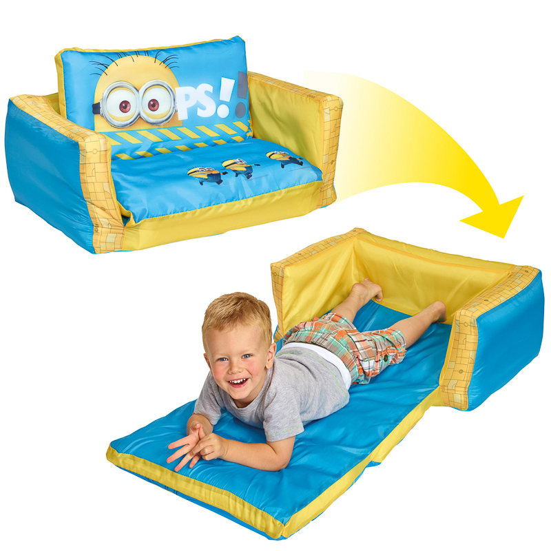BampM Minions Flip Out Sofa Childrens Furniture  : 305979 Despicable Me Minions flip out mini sofa in action1 from www.bmstores.co.uk size 800 x 800 jpeg 146kB