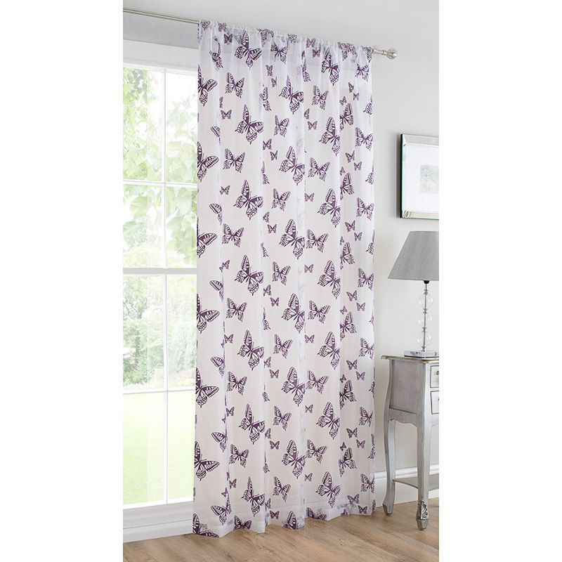 b m butterfly flock voile curtain 140 x 222cm purple. Black Bedroom Furniture Sets. Home Design Ideas