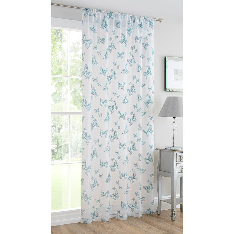 b m butterfly flock voile curtain 140 x 222cm duck egg. Black Bedroom Furniture Sets. Home Design Ideas