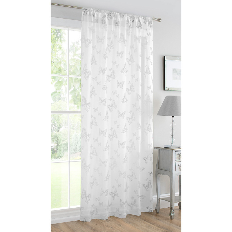 b m butterfly flock voile curtain 140 x 222cm white. Black Bedroom Furniture Sets. Home Design Ideas