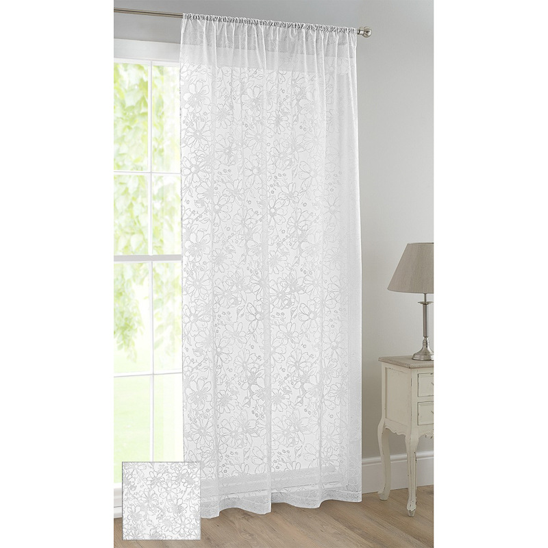 floral flock voile curtain daisy curtains home. Black Bedroom Furniture Sets. Home Design Ideas