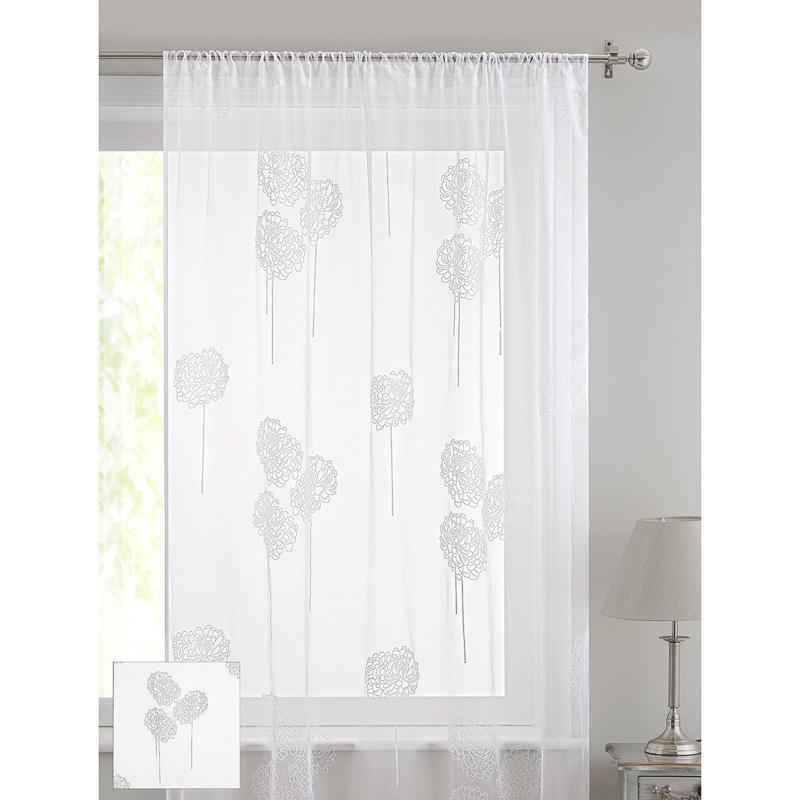 floral flock voile curtain pompom curtains home. Black Bedroom Furniture Sets. Home Design Ideas