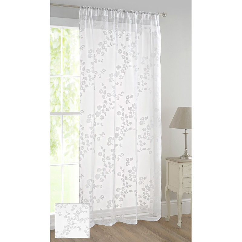 floral flock voile curtain trailing flower curtains home. Black Bedroom Furniture Sets. Home Design Ideas