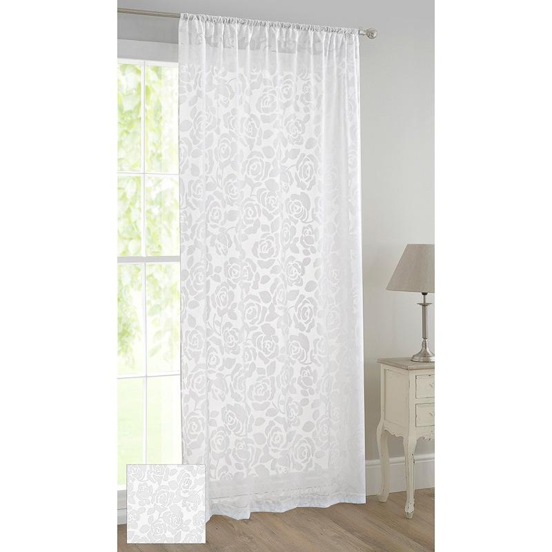 floral flock voile curtain rose curtains home. Black Bedroom Furniture Sets. Home Design Ideas