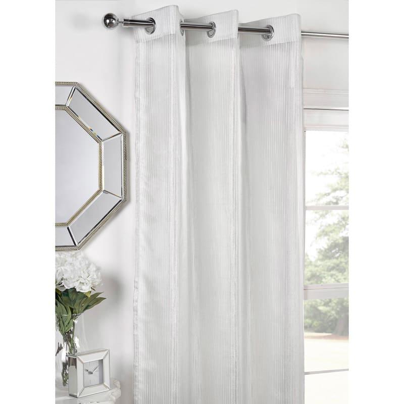 b m amethyst metallic stripe eyelet voile curtain 55 x 90. Black Bedroom Furniture Sets. Home Design Ideas