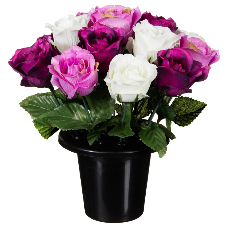 Floral Grave Pots 25cm Artificial Flowers Plants