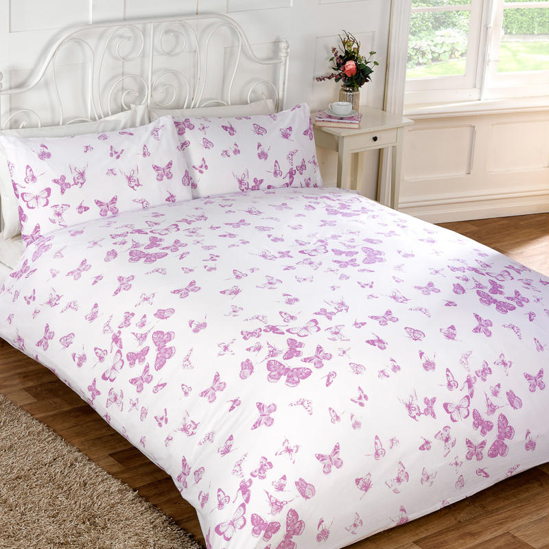 vintage butterfly duvet set double duvet covers. Black Bedroom Furniture Sets. Home Design Ideas