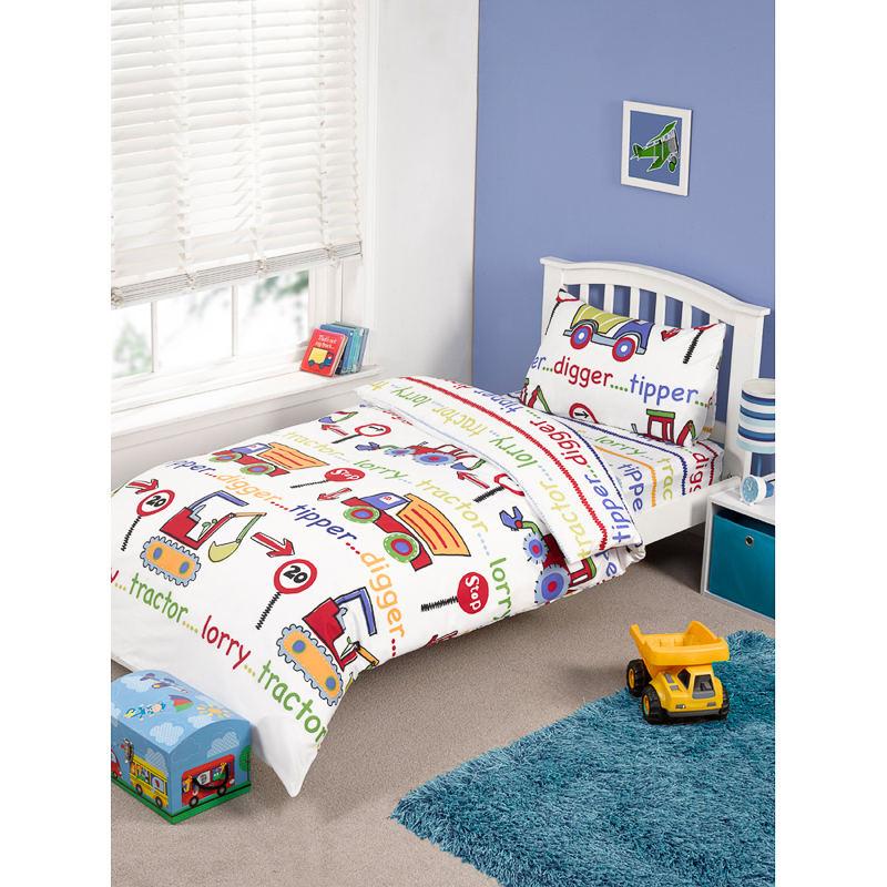 Kids Complete Single Bed Set Digger Duvet Covers