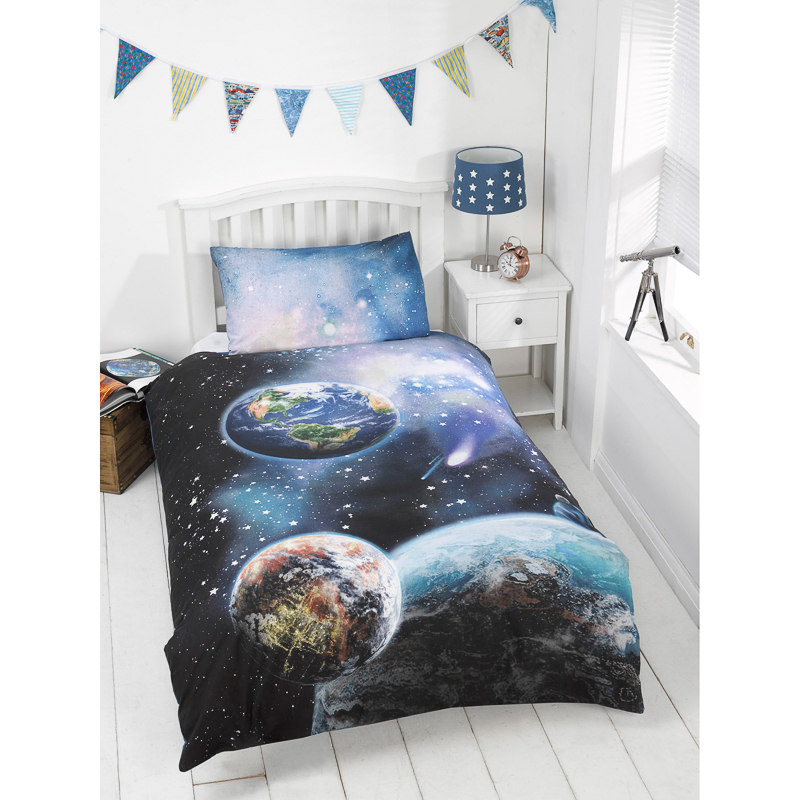 Kids Glow In The Dark Single Duvet Set Planets Bedding