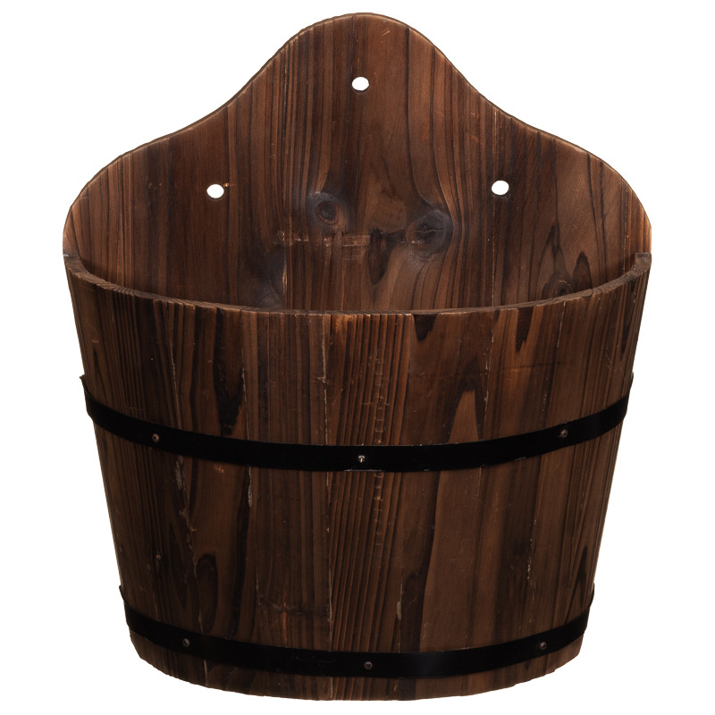 b m scallop top burntwood wall planter decorative planters. Black Bedroom Furniture Sets. Home Design Ideas