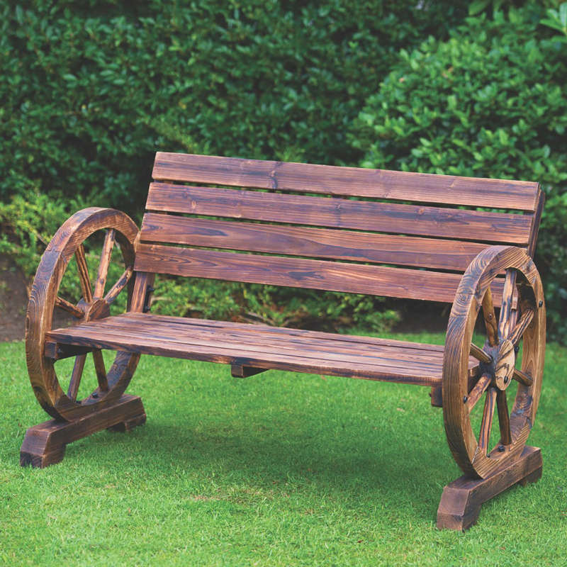 Wagon wheel bench 2 seater garden furniture for Outdoor furniture benches