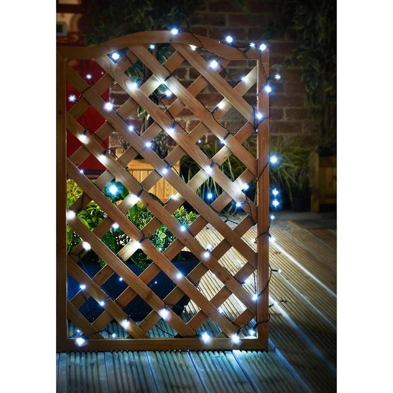 Solar Lights Home Bargains: B&M: 480 Solar LED String Lights - White