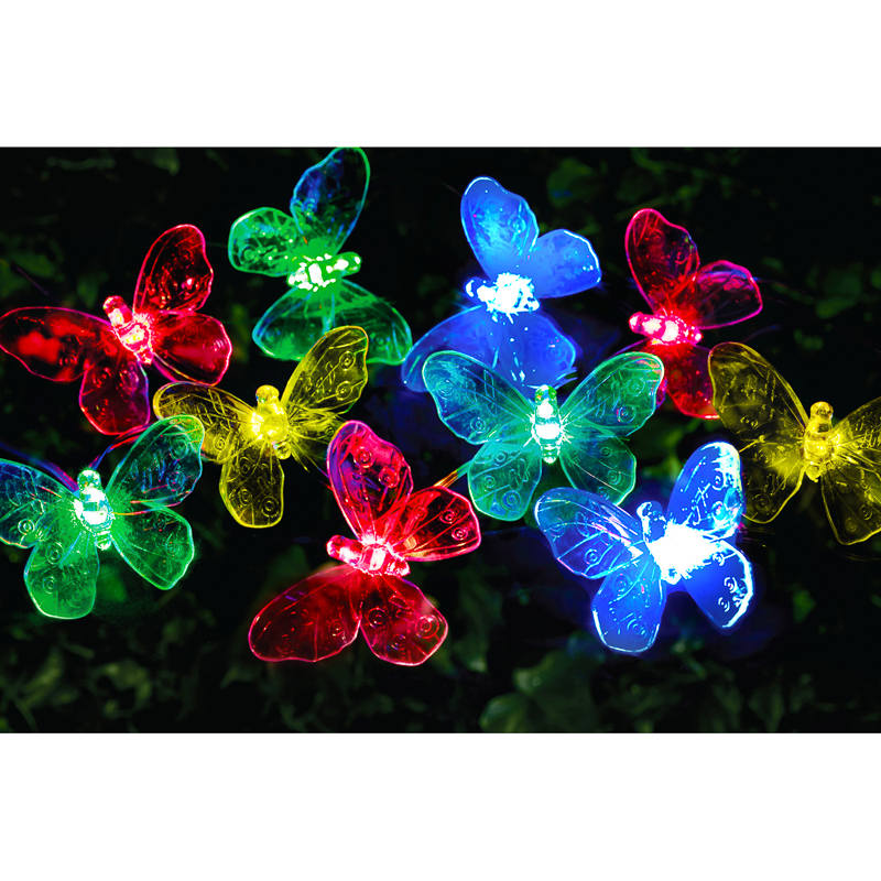 24 Solar Led Butterfly String Lights Multicolour B Amp M
