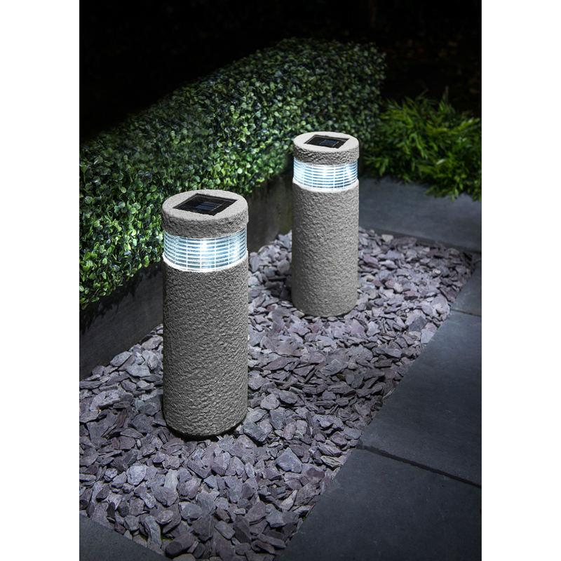 stone effect bollard solar lights 2pk garden solar lights
