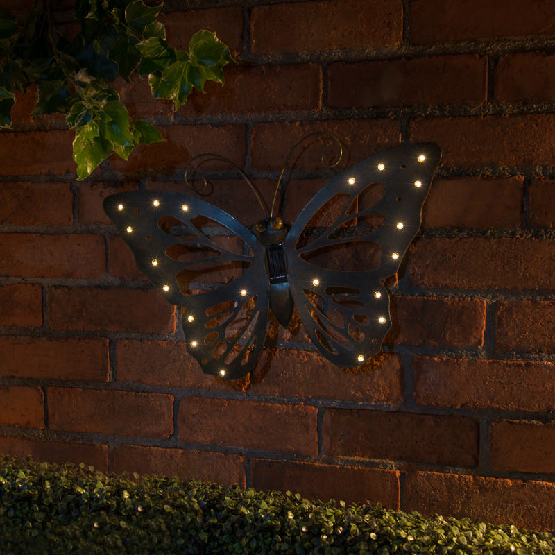 B And M Outdoor Wall Lights : B&M: Cast Iron Effect Solar Wall Art - Butterfly Garden Lights
