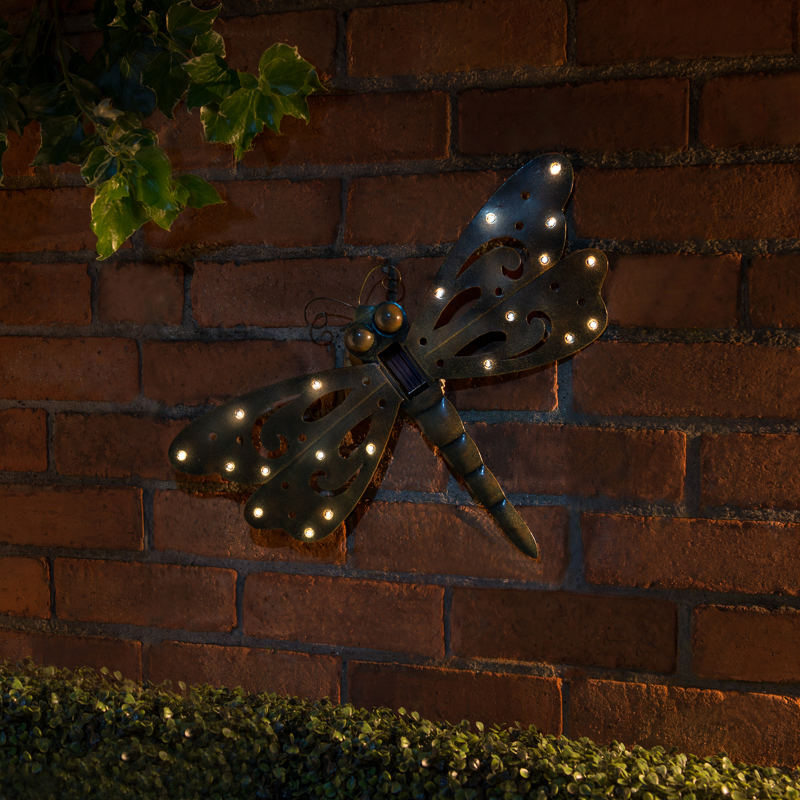 B And M Outdoor Wall Lights : B&M: Cast Iron Effect Solar Wall Art - Dragonfly Garden Lights