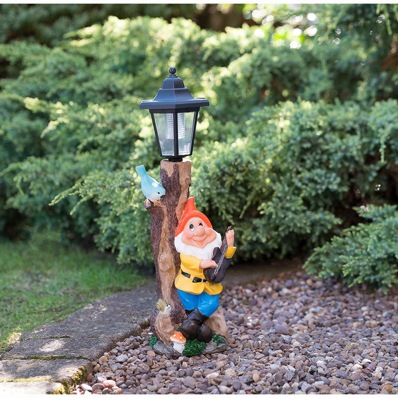 Garden Gnome With Solar Lamp Post Orange Solar