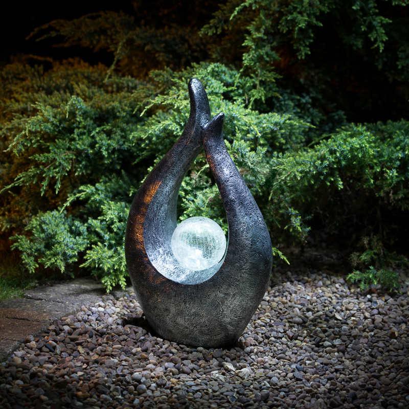 Garden Gnome With Solar Powered Lamp Post Garden Lighting