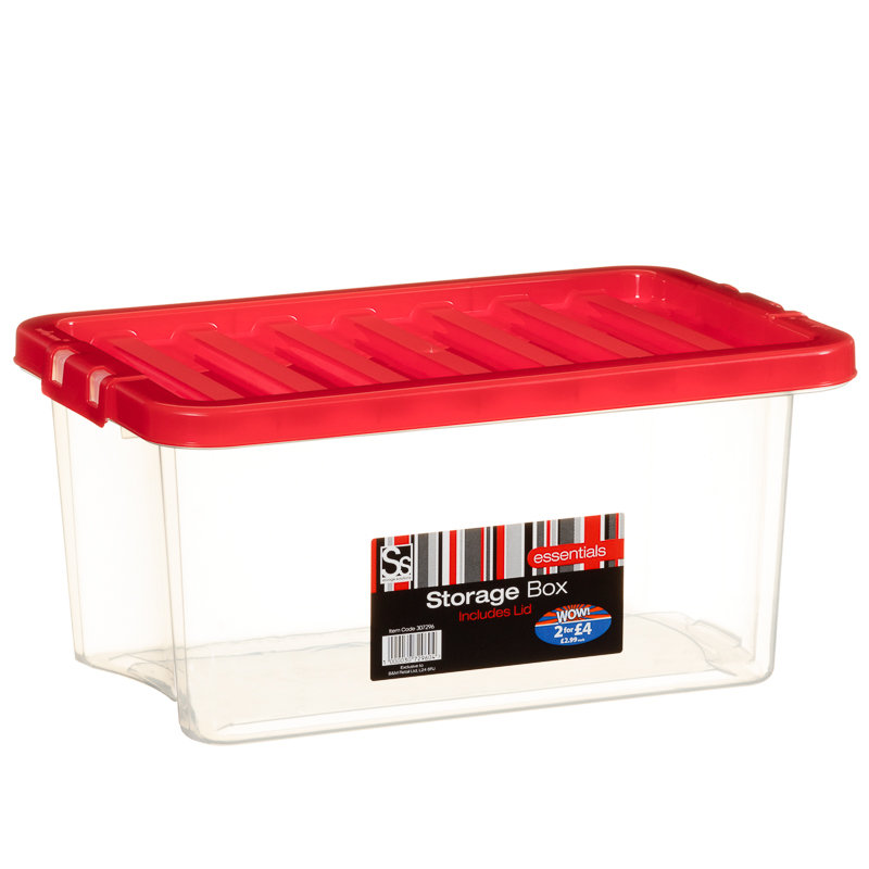 307296 10lt Clear Storage Box With Red Lid1