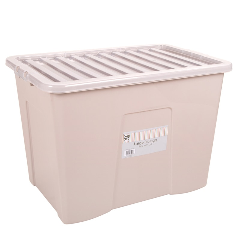 307309  Taupe Lareg Storage Box With Lid