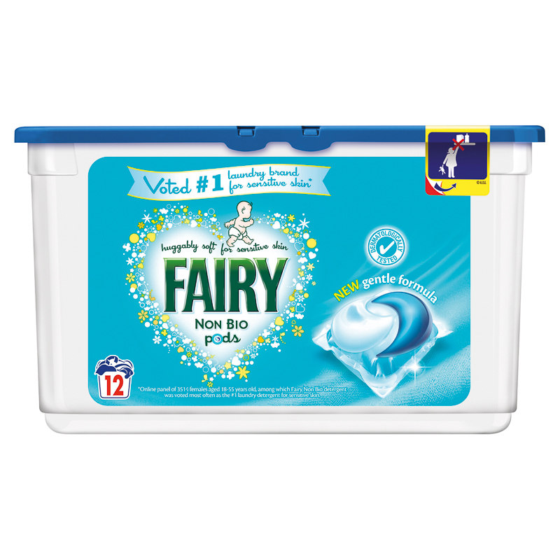 Fairy Non Bio Pods 12pk Washing Laundry