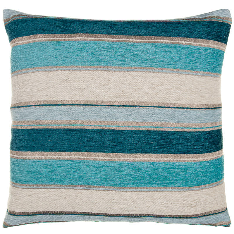 Chloe Chunky Chenille Stripe Cushion Teal Soft Furnishings