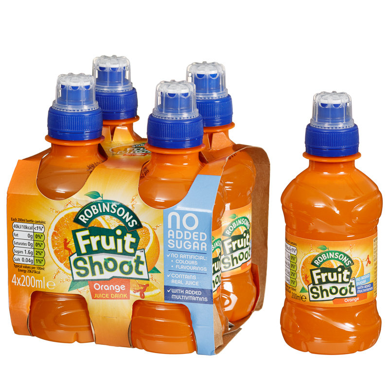 Robinsons Fruit Shoot Orange 4 X 200ml Soft Drinks