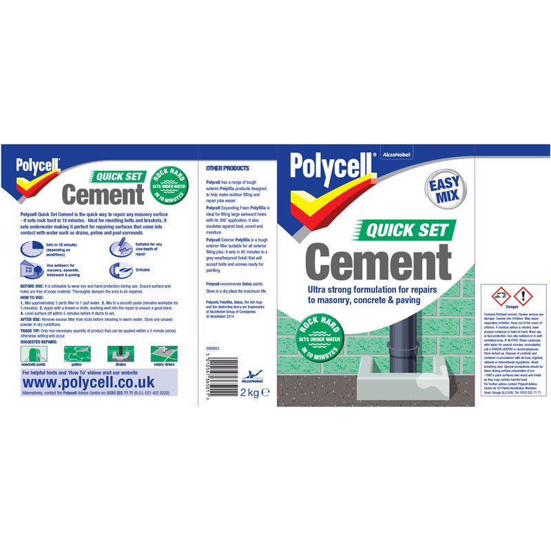 Quick Setting Cement : Polycell easy mix quick set cement kg diy b m