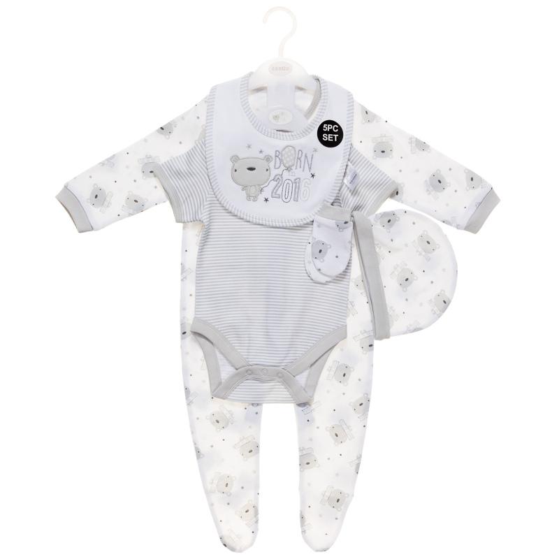 Born in 2016 Baby Clothing Set 5pc Grey Bear