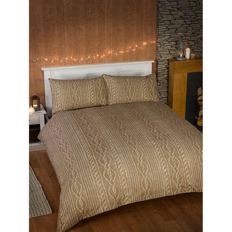 B M Cable Knit Double Duvet Set Natural Bedding Bed Set