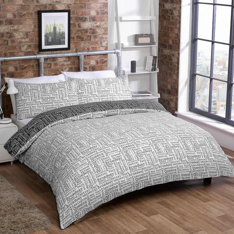 Bm brooklyn text duvet set double bedding bed set for Brooklyn linen stores
