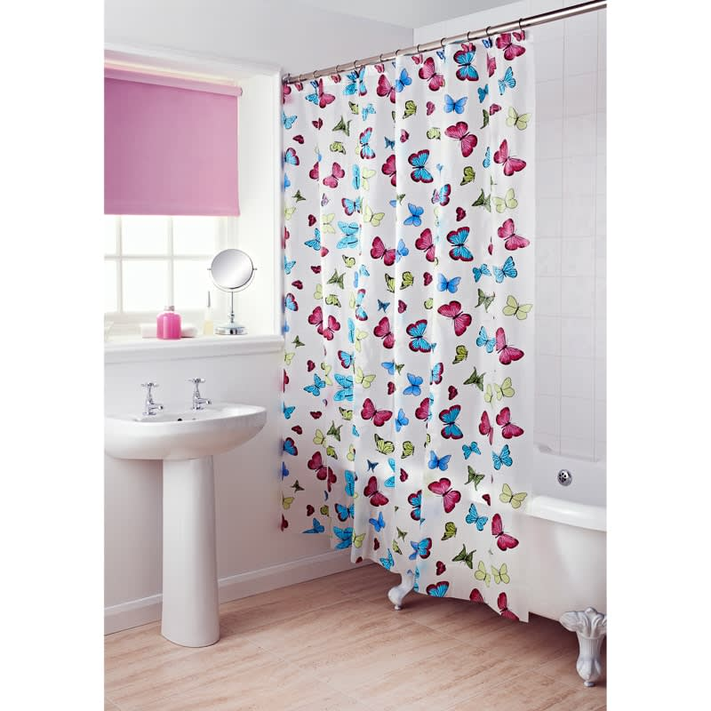 310264 Peva Shower Curtain And Hook Set Butterfly