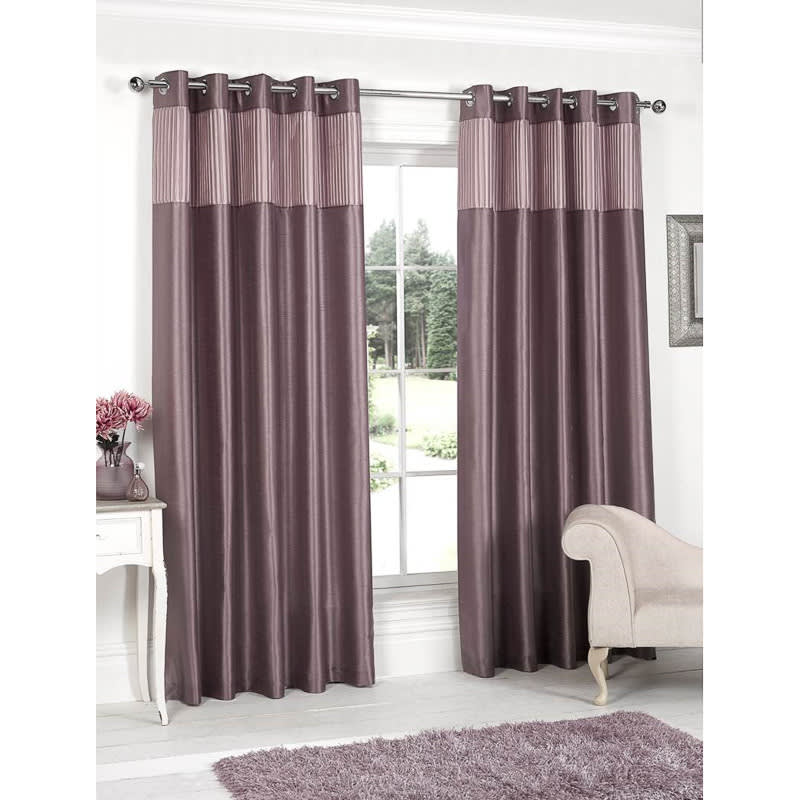 Pleated Top Border Fully Lined Curtain Curtains B M