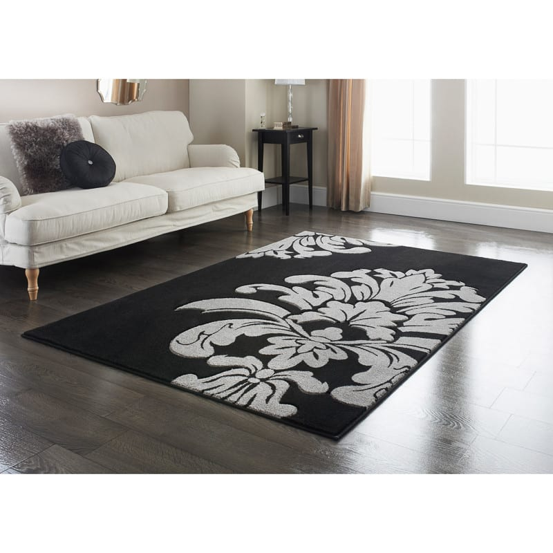 Damask Rug Black 110 X 160cm Rugs Textured Rugs