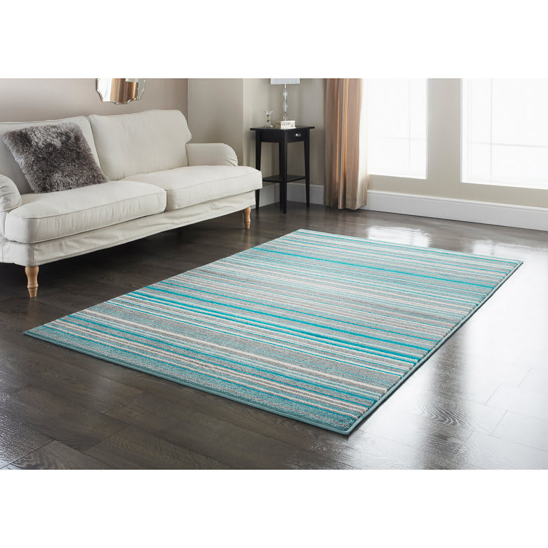 Stripe Rug Teal 110 X 160cm Rugs Textured Rugs