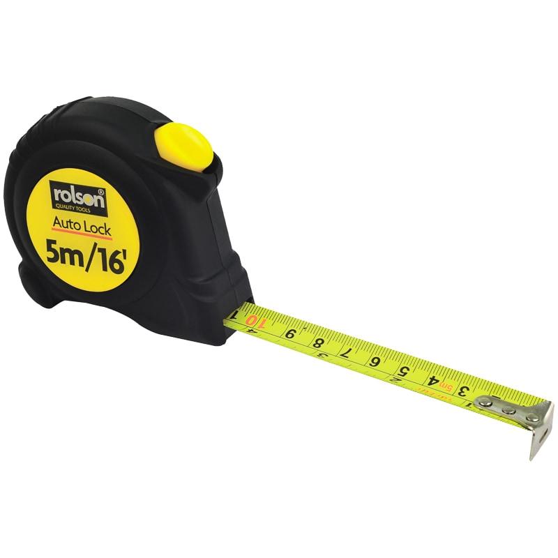 Rolson Auto Lock Tape Measure 5m Diy Tools B Amp M