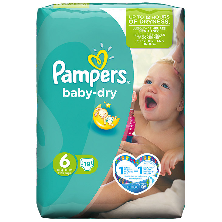 Pampers Extra Large Nappies Carry Pack 19pk Size 6 Baby