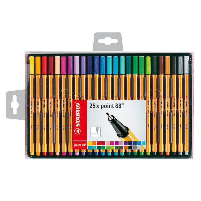 Stabilo Point 88 Fineliner Pens 25pk School Stationery