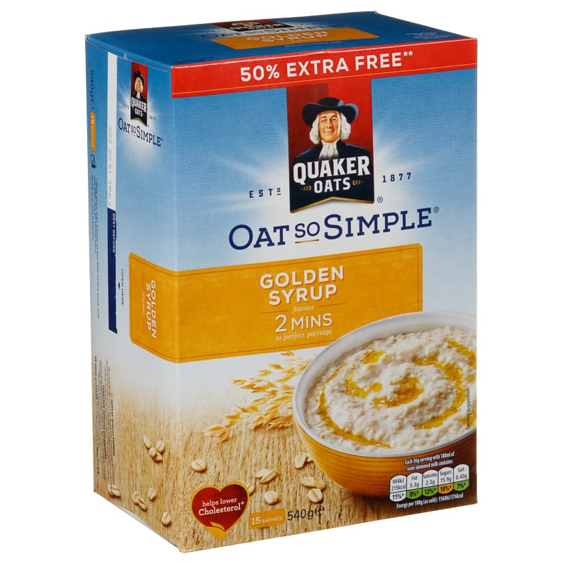 Quaker Oat So Simple 540g Golden Syrup Breakfast Cereal