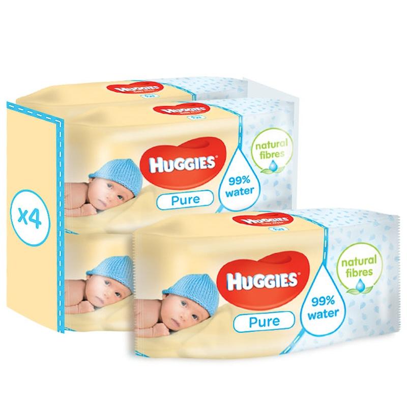 Huggies Pure Wipes 224 Wipes 4 X 56pk Baby Toiletries