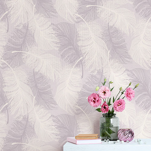 Coloroll Feather Motif Wallpaper Pink Decorating Diy