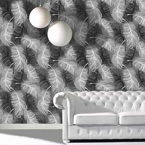 Coloroll Feather Motif Wallpaper Black