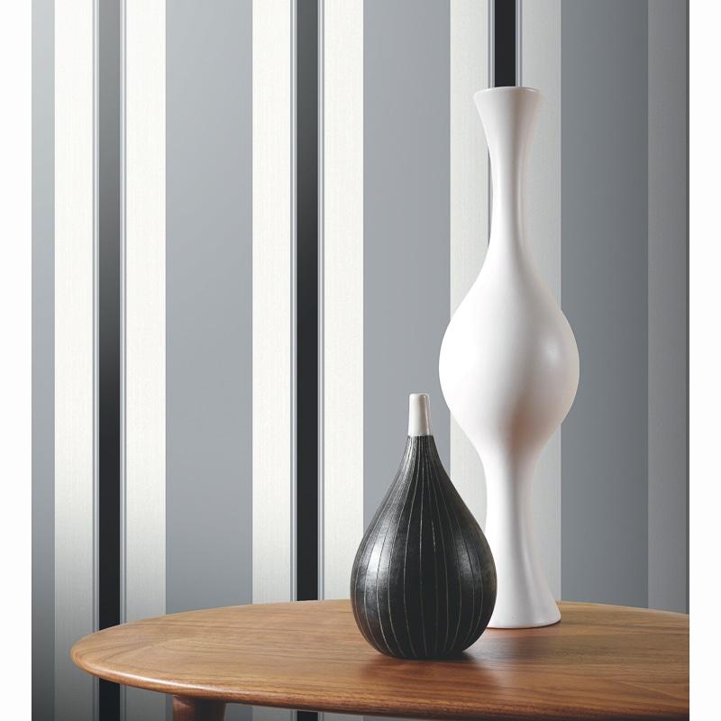 312064 Arthouse Anya Black And Silver Stripe Wallpaper