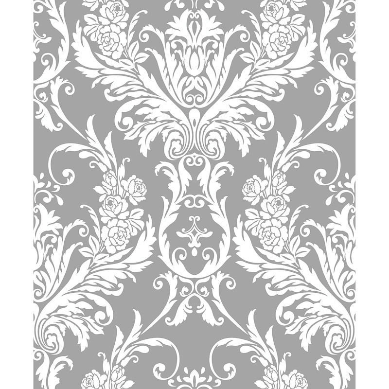 312076 medina flock silver wht damask wallpaper
