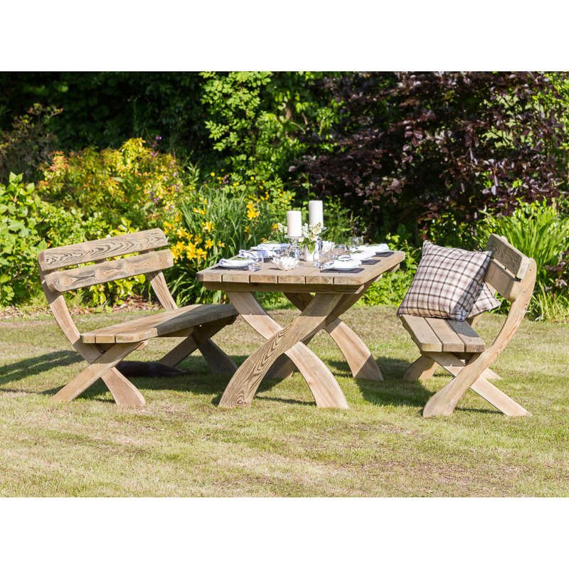 Harriet Table & Bench Set | Garden Furniture, Garden Seating